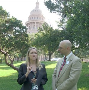 Heather Gardner and Thad Crouch at Texas state capitol