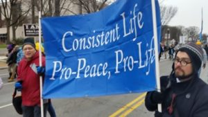 Tom Taylor (left) and John Whitehead (right) holding our banner at the March for Life 2016